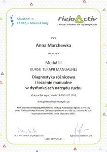 dyplom terapia manualna III
